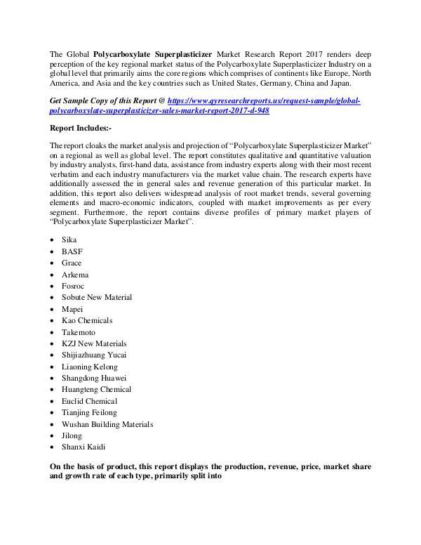 Polycarboxylate Superplasticizer Market