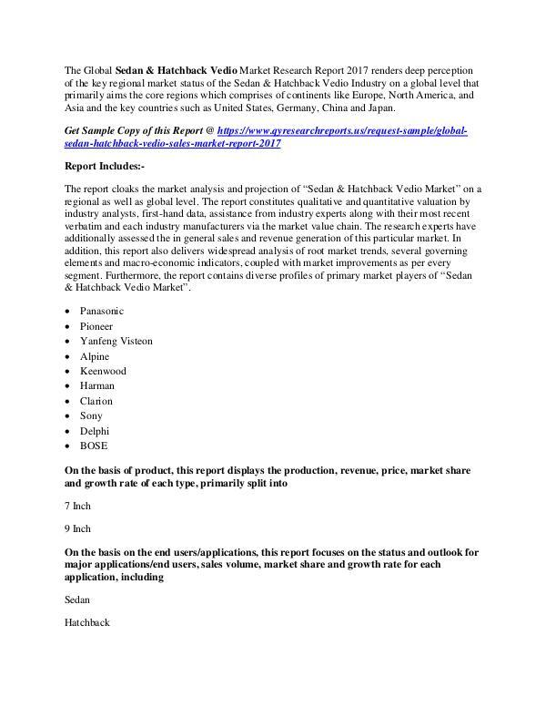 QY Research Groups Sedan & Hatchback Vedio Market