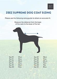 Coats, boots, halters, thunder shirts, Zen Dog, etc sizing guides