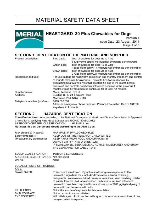 Vet Lines MSDS HEARTGARD 30 Plus Chewables for Dogs