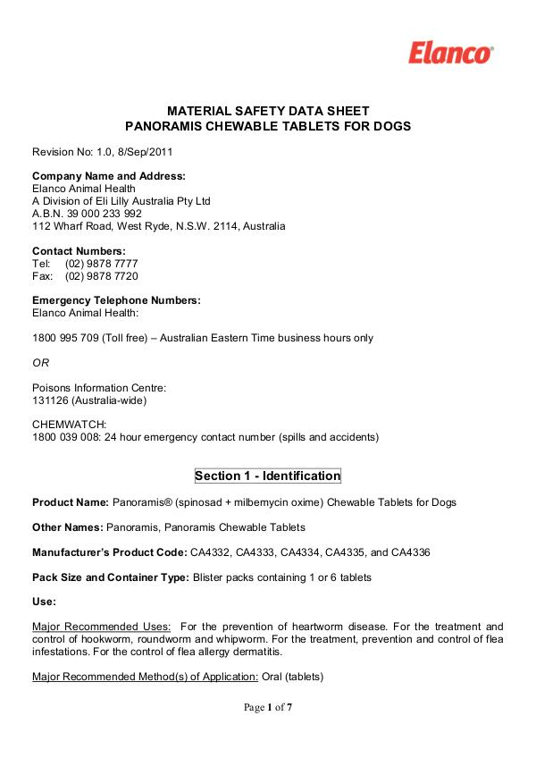 Vet Lines MSDS PANORAMIS CHEWABLE TABLETS FOR DOGS