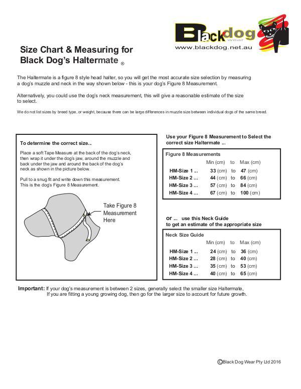 Size Chart & Measuring for Black Dog's Haltermate