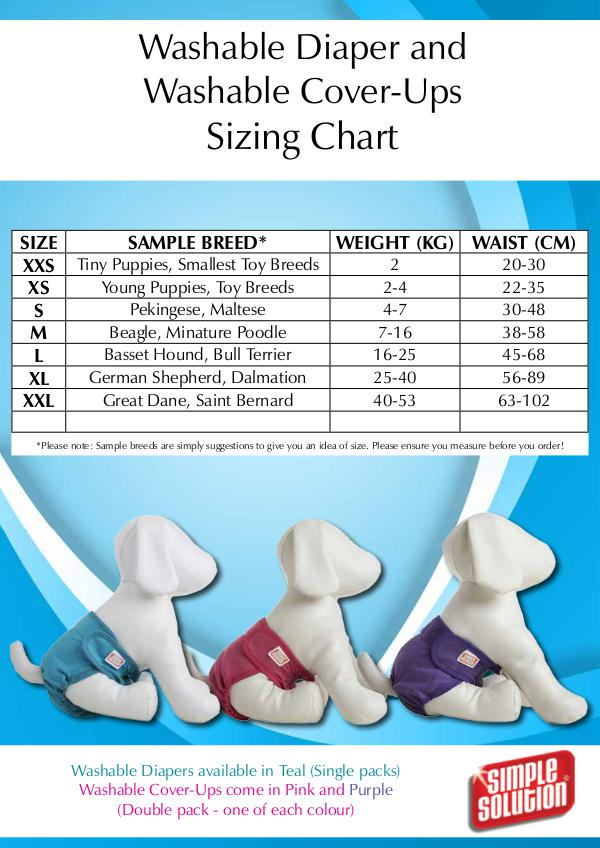 Washable Diaper and Washable Cover-Ups SizingChart