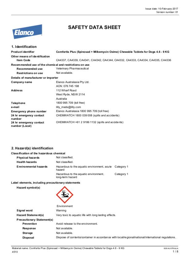 Comfortis Plus 4.6-9kg MSDS