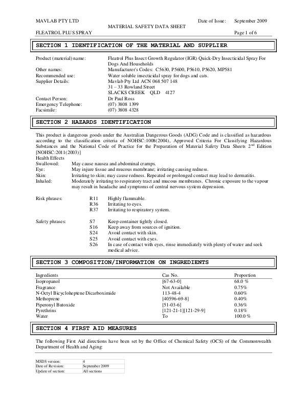 84-FP5600_5610 - Fleatrol & Quick Dry Spray w IGR