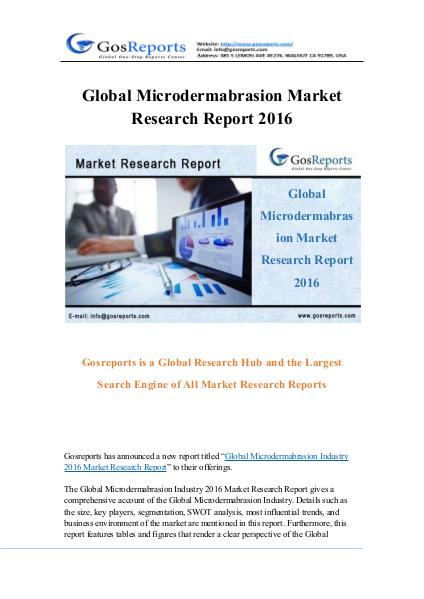 Global Microdermabrasion Market Research Report 2016 Global Microdermabrasion Market Research Report 20
