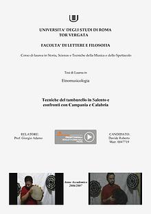 Tesi di Laurea di Davide Roberto in Etnomusicologia (Dams - Musica)