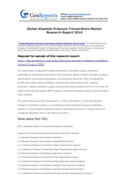 Global Torque Measurement Instruments Industry 2016 Market Research R Global Absolute Pressure Transmitters Market Resea