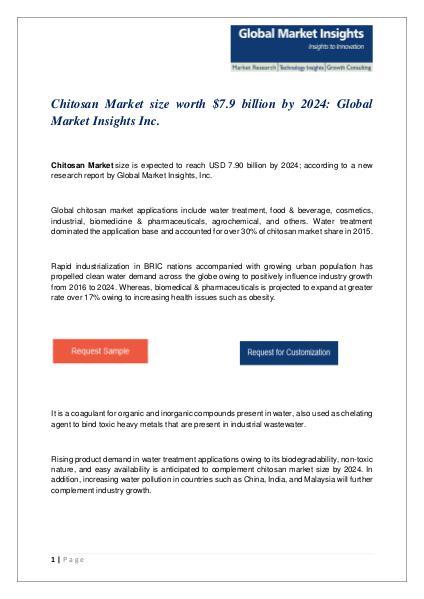 PDF for Chitosan Market: Global Market Insights, Inc. Chitosan Market size