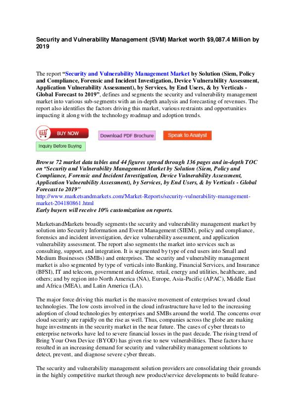 Security and Vulnerability Management Market by Solutions & Services Security and Vulnerability Management Market