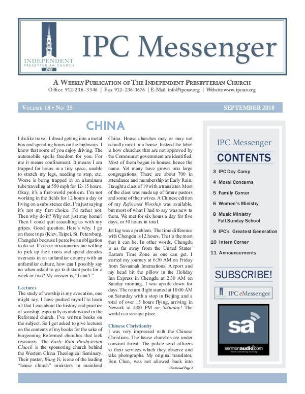 2018 Messenger September 2018 Messenger