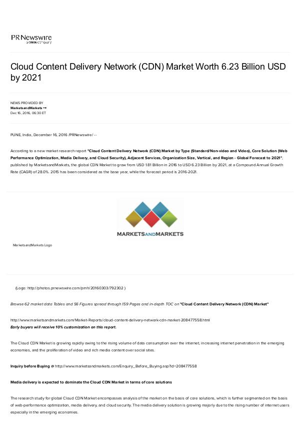 Cloud CDN Market may reach to $ 6.23 Billion by 2021 Cloud Content Delivery Network Market