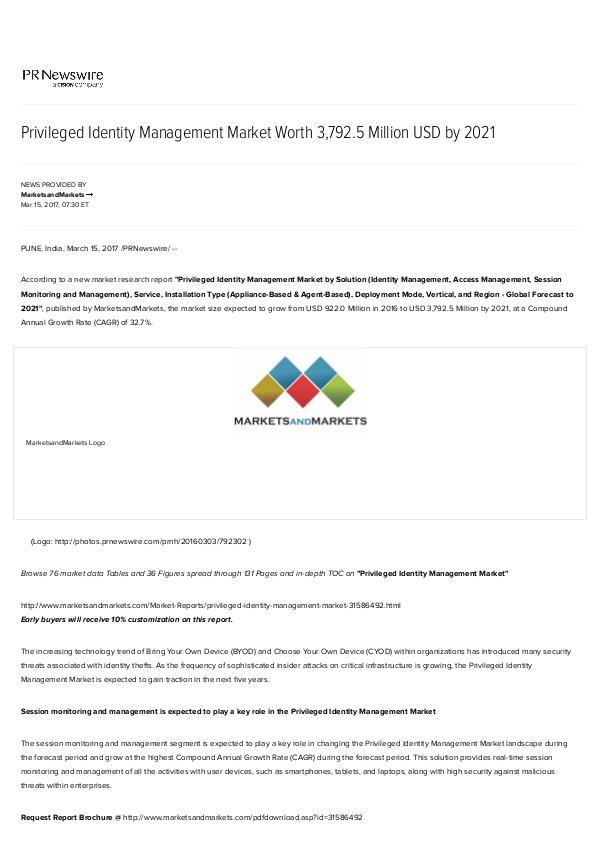 Privileged Identity Management Market worth $ 3,792.5 Million by 2021 Privileged Identity Management Market