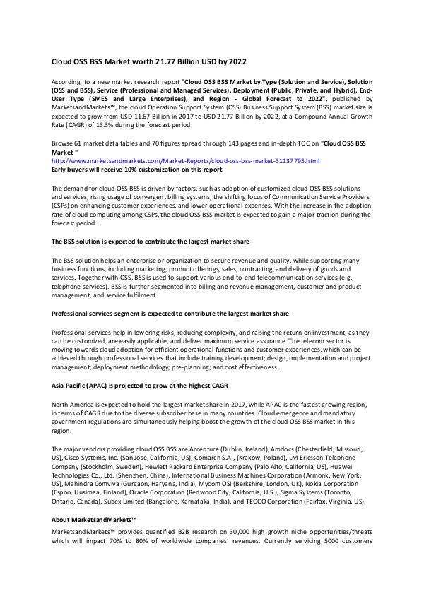 Cloud OSS BSS Market worth 21 77 Billion USD by 2022 Cloud