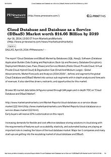 Cloud Database industry expected $ 14.05 Billion investment by 2019