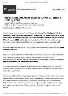 Mobile Anti-Malware Market worth $ 5.7 Billion by 2020