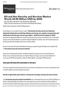 Oil and Gas Security Market worth $ 33.90 Billion by 2020