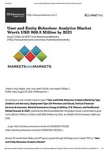 User & Entity Behavior Analytics Market worth $ 908.3 Million by 2021