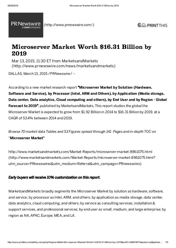 Micro server Market may cross $ 16.31 Billion in 2019 Micro server Market