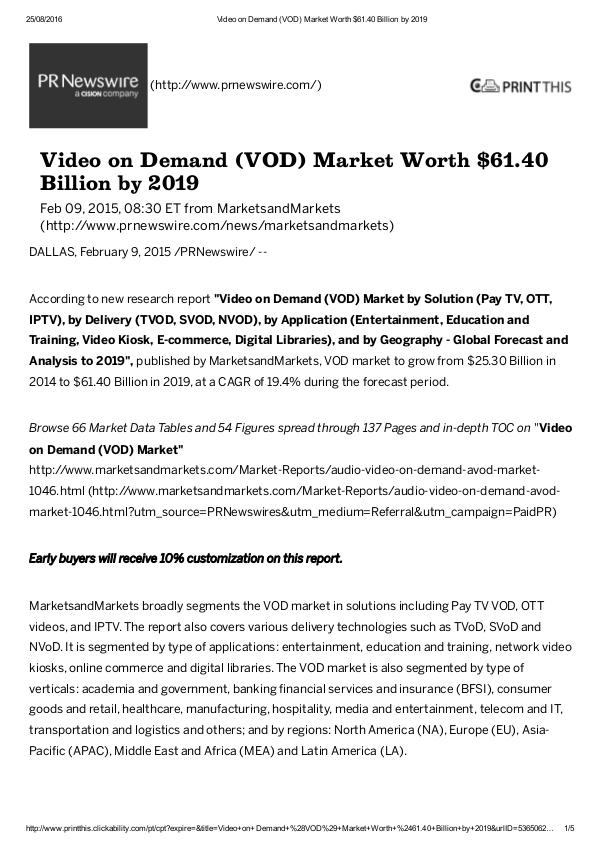 Video on Demand industry to grow $61.40 Billion by 2019 Video on Demand