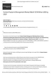 Carbon Footprint Management Market worth 12.94 Billion USD by 2021