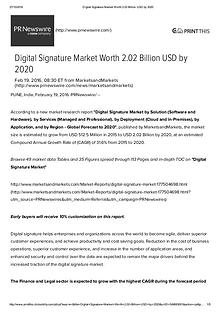 Digital Signature Market worth $ 2.02 Billion by 2020
