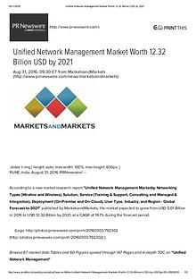 Unified Network Management Market worth $ 12.32 Billion by 2021