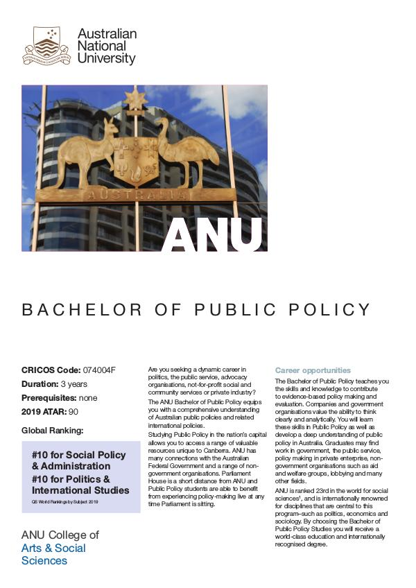 Bachelor of Public Policy B Public Policy 2019_v1.1_web