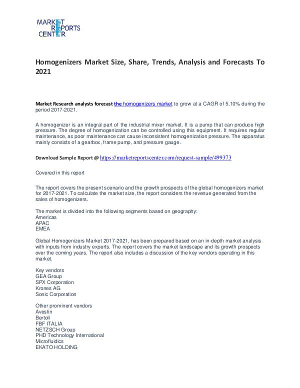 Homogenizers Market Size, Share, Trends, Analysis and Forecasts Homogenizers Market