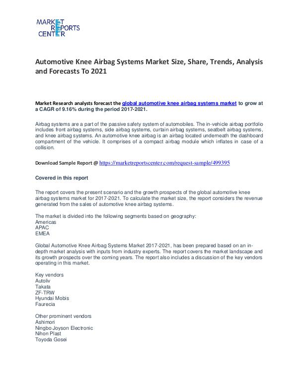 Automotive Knee Airbag Systems Market Growth, Price and Forecast Automotive Knee Airbag Systems Market