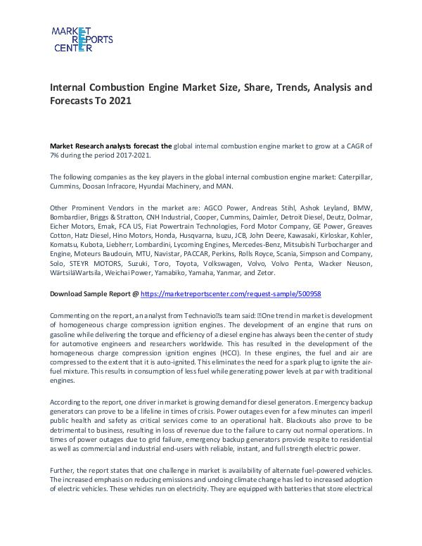 Internal Combustion Engine Market Size, Share and Forecast Internal Combustion Engine Market