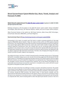 Direct Current Power System Market Size, Share and Forecast To 2021