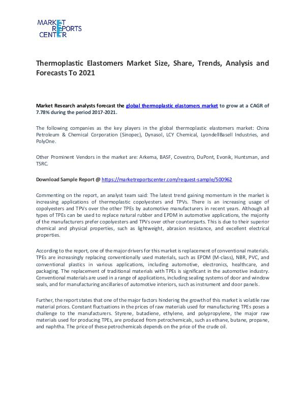 Thermoplastic Elastomers Market Size, Share and challenges Thermoplastic Elastomers Market