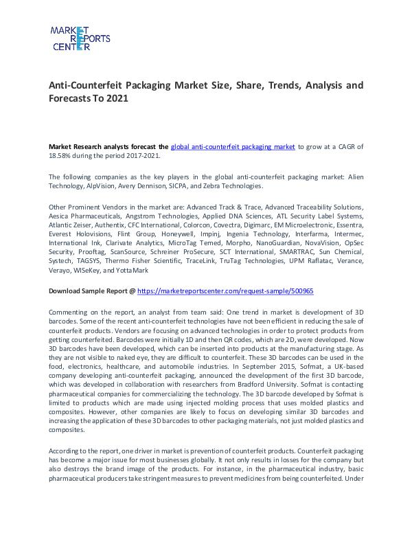 Anti-Counterfeit Packaging Market Trends, Growth and Forecast Anti-Counterfeit Packaging Market