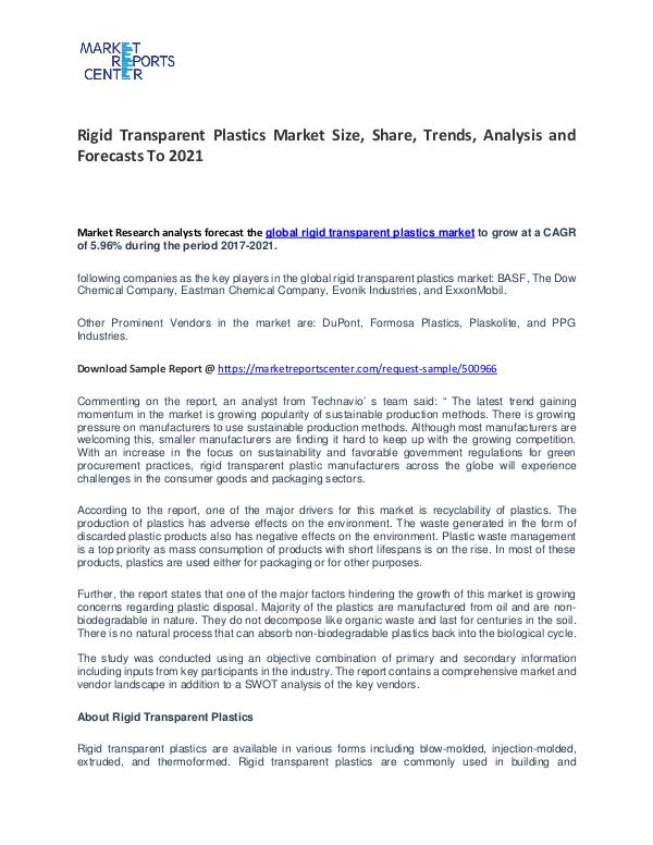 Rigid Transparent Plastics Market Size, Share and Forecast Rigid Transparent Plastics Market
