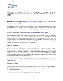 Fire Suppression Market Research Report Analysis To 2021