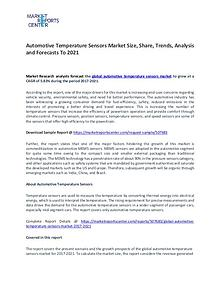 Automotive Temperature Sensors Market Research Report Analysis