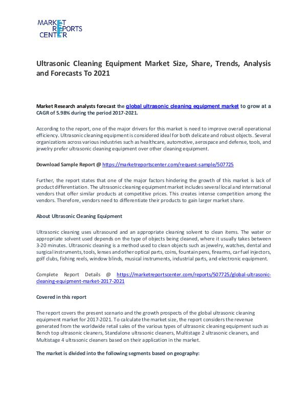Ultrasonic Cleaning Equipment Market Research Reports Analysis 2017 Ultrasonic Cleaning Equipment Market