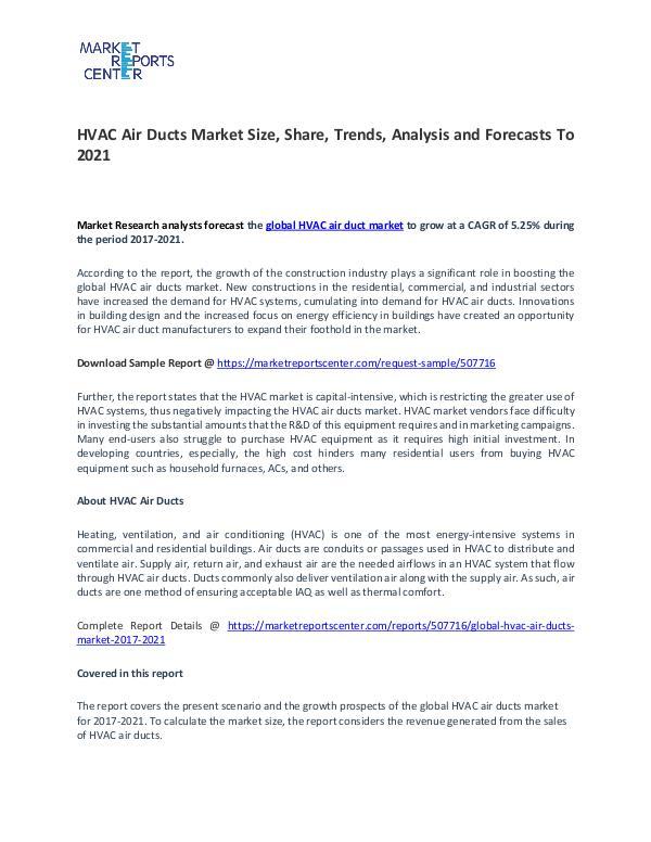 Global HVAC Air Ducts Market 2017-2021 HVAC Air Ducts Market