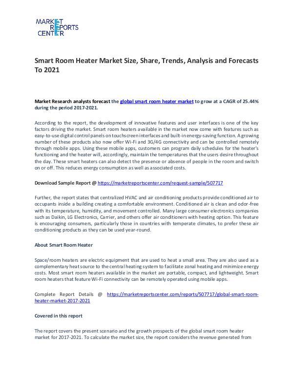 Global Smart Room Heater Market 2017-2021 Smart Room Heater Market