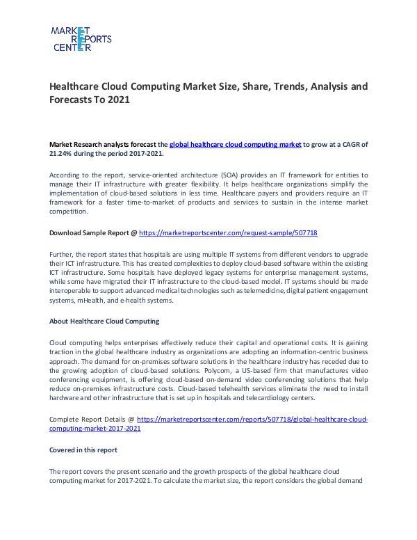 Global Healthcare Cloud Computing Market 2017-2021 Healthcare Cloud Computing Market
