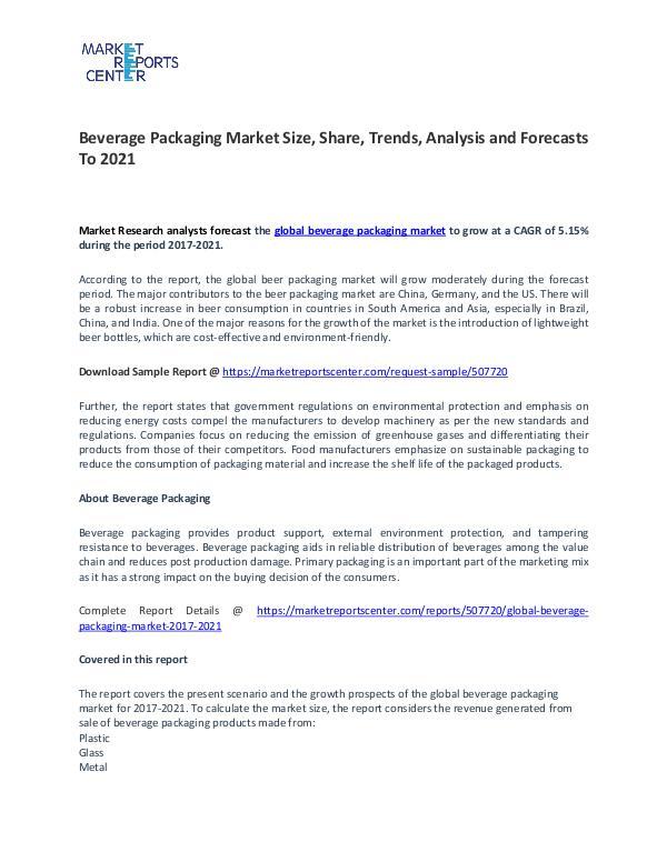 Global Beverage Packaging Market 2017-2021 Beverage Packaging Market