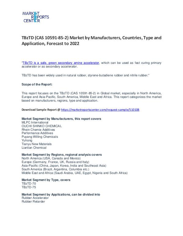 TBzTD (CAS 10591-85-2) Market by Manufacturers, Countries and Type TBzTD (CAS 10591-85-2) Market