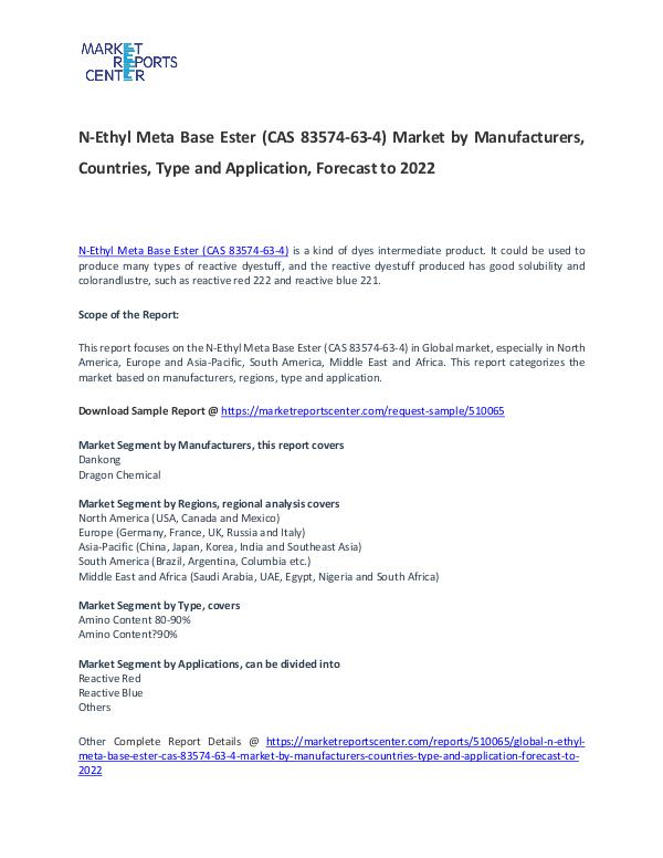 N-Ethyl Meta Base Ester Market 2017: Industry trends and Forecast N-Ethyl Meta Base Ester Market