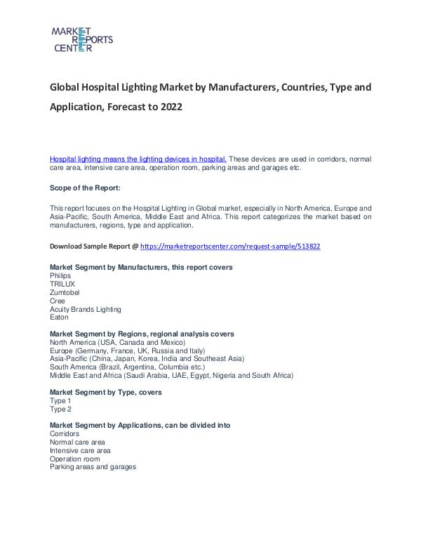 Hospital Lighting Market Research Report Analysis to 2022 Hospital Lighting Market