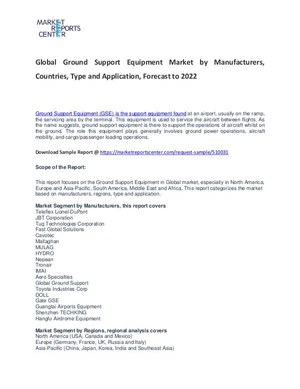 Ground Support Equipment Market Research Report Analysis to 2022 Ground Support Equipment Market