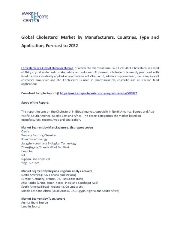 Cholesterol Market Size, Share, Demand and Forecast Cholesterol Market