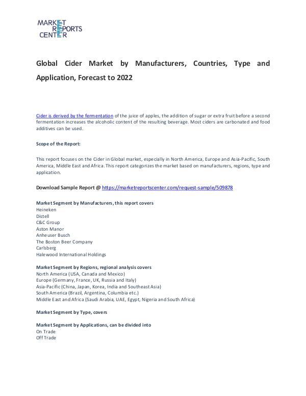 Cider Market Report Analysis To 2022 Cider Market