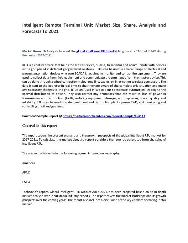 Intelligent Remote Terminal Unit Market Report Analysis to 2021 Intelligent Remote Terminal Unit Market