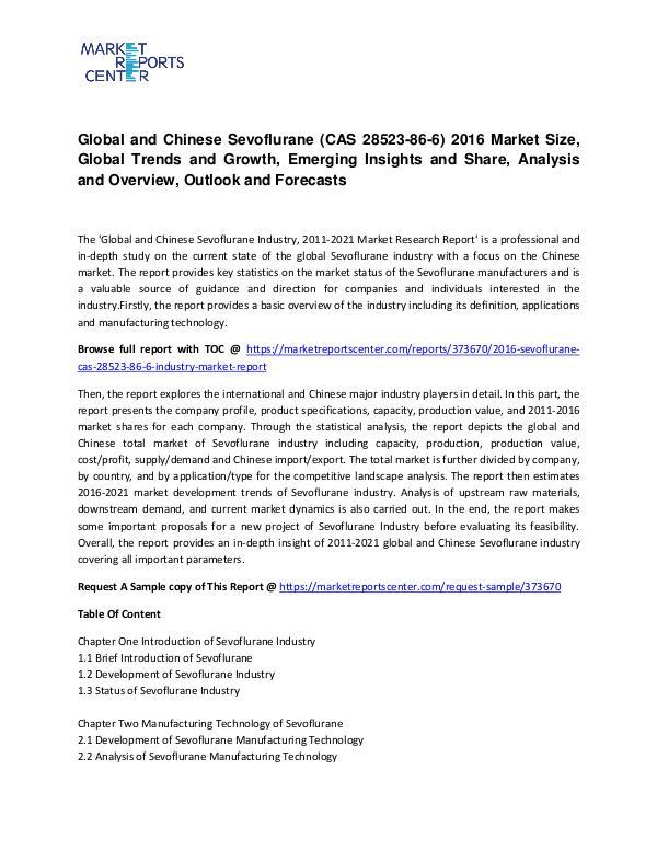 Sevoflurane (CAS 28523-86-6) Market Size, Share, Emerging Trends and Sevoflurane (CAS 28523-86-6) Market Size, Share, E